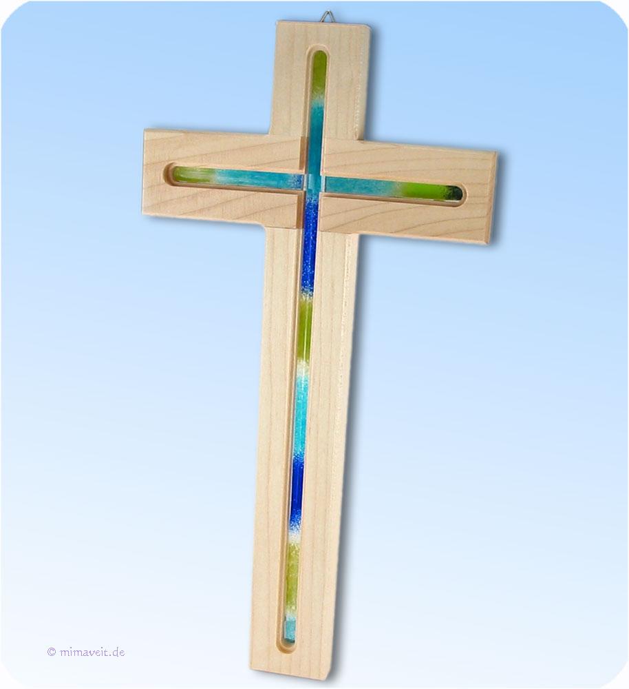 Holz kreuz aus ahorn mit glaseinlage glas blau hochzeit - Couchtische holz mit glaseinlage ...