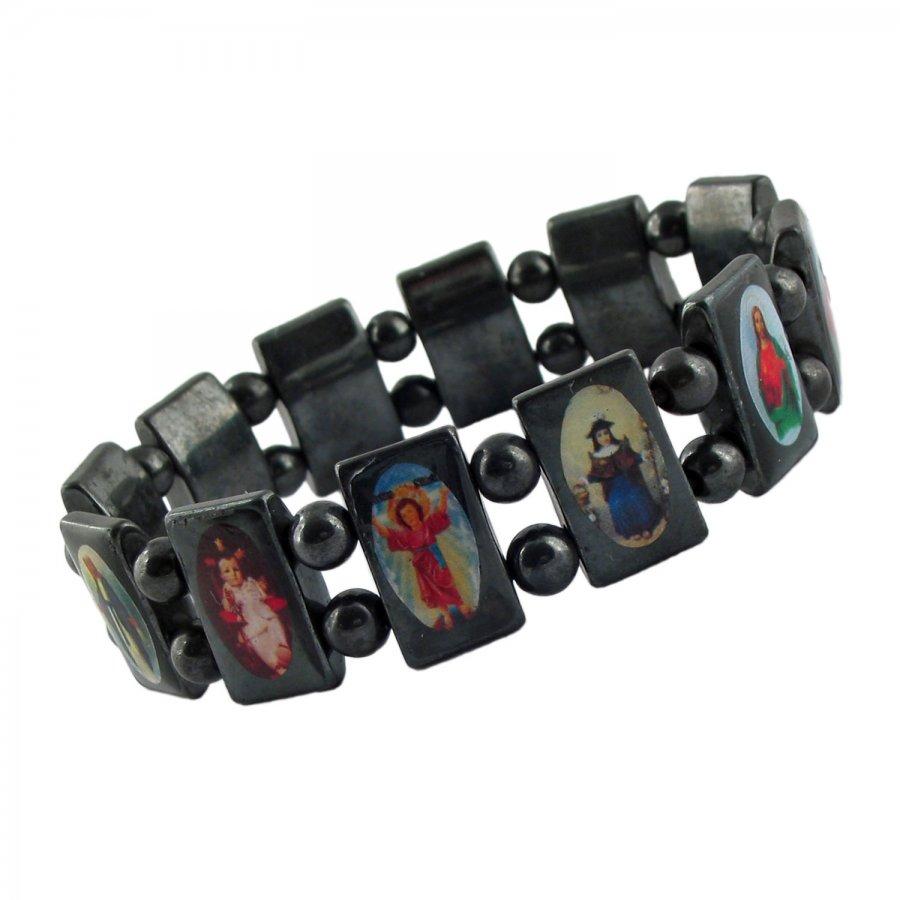 Armband aus Hämatit mit Schutz-Heiligen