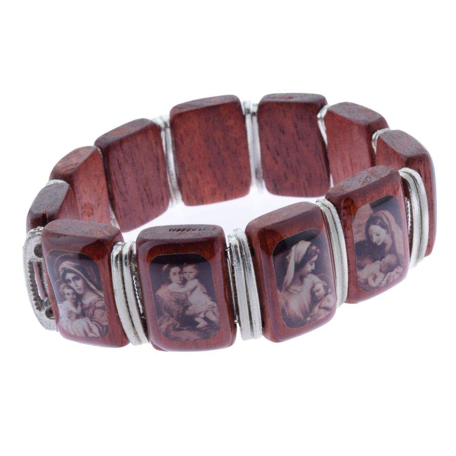 Armband Holz antik mit Marienbildern