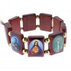 Armband aus Holz Holzarmband mit Heiligen Escapulario