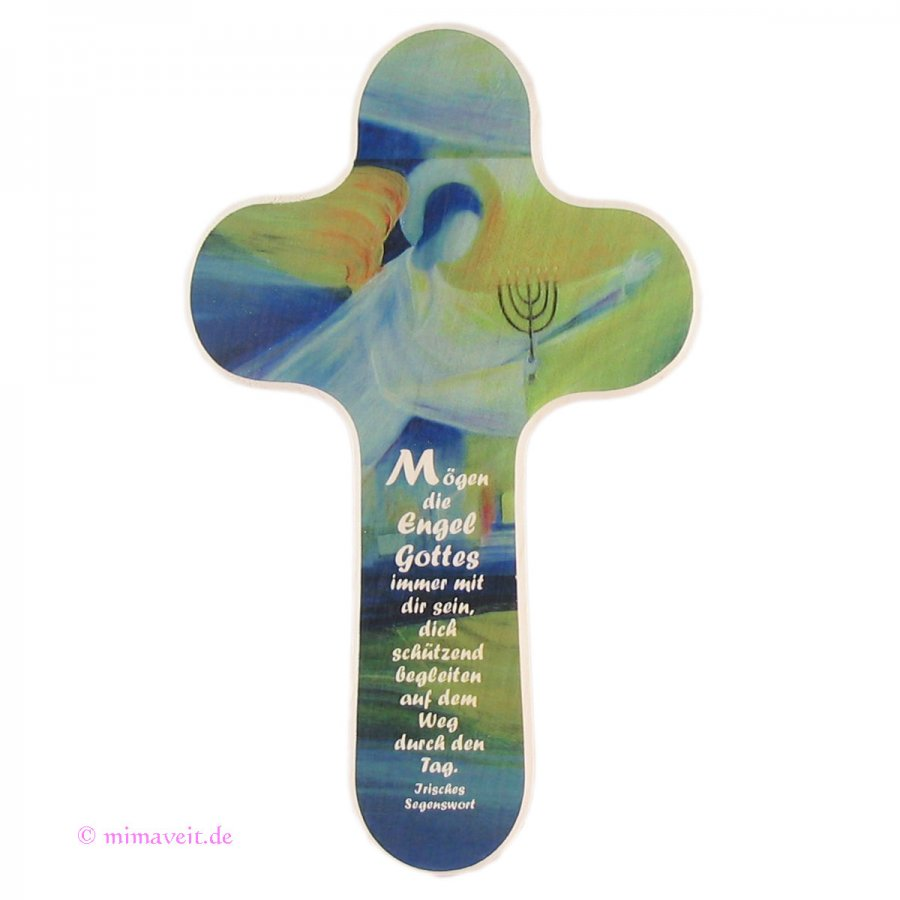 Kinderkreuz Engel Gottes grün-blau