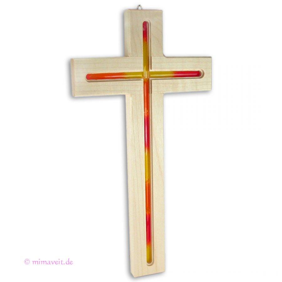 Wandkreuz aus holz mit glaseinlage rot gelb holzkreuz in - Couchtische holz mit glaseinlage ...