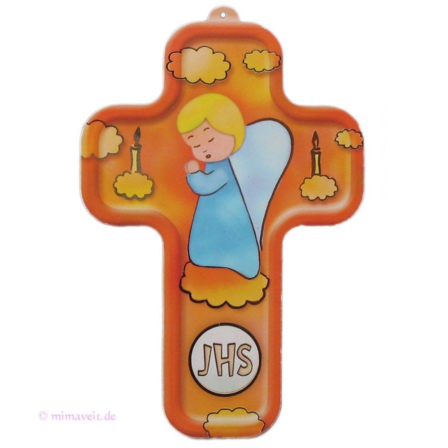 Kinderkreuz 3D mit betendem Schutzengel