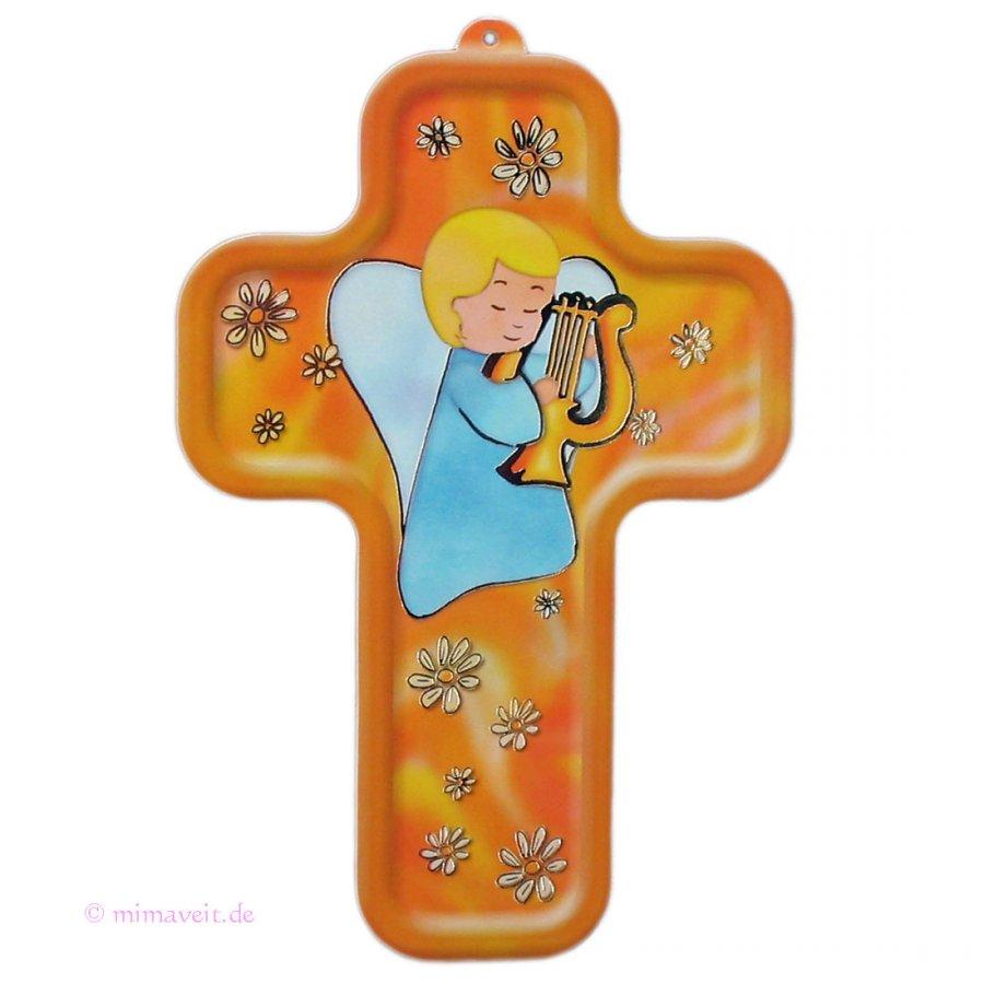 Kinderkreuz 3D mit Schutzengel und Harfe