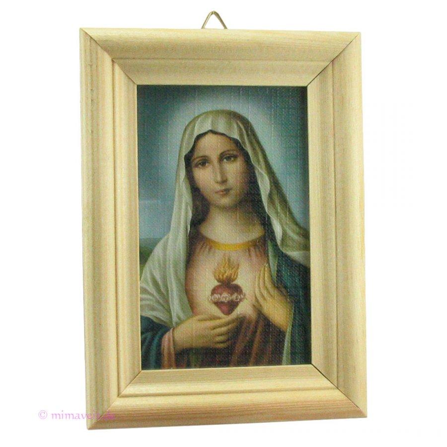 Heiligenbild Herz Mariä in Holzrahmen