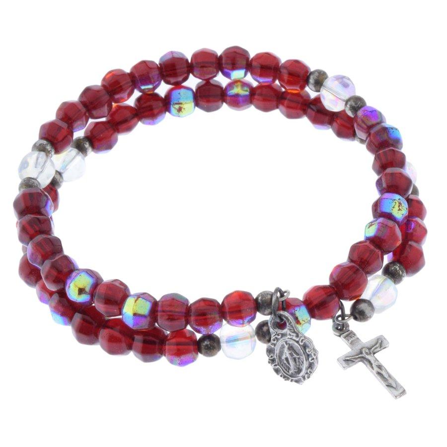 Armband mit roten Perlen und zwei Anhängern Mutter Gottes Maria
