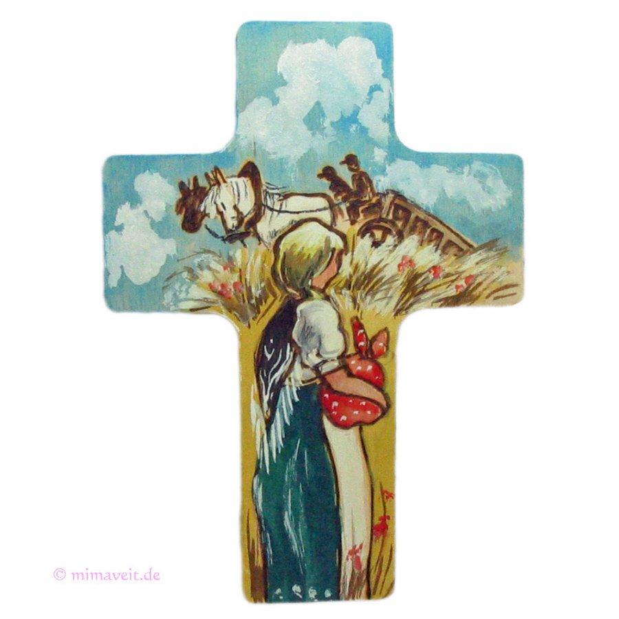 Kinderkreuz Mädchen bei der Ernte