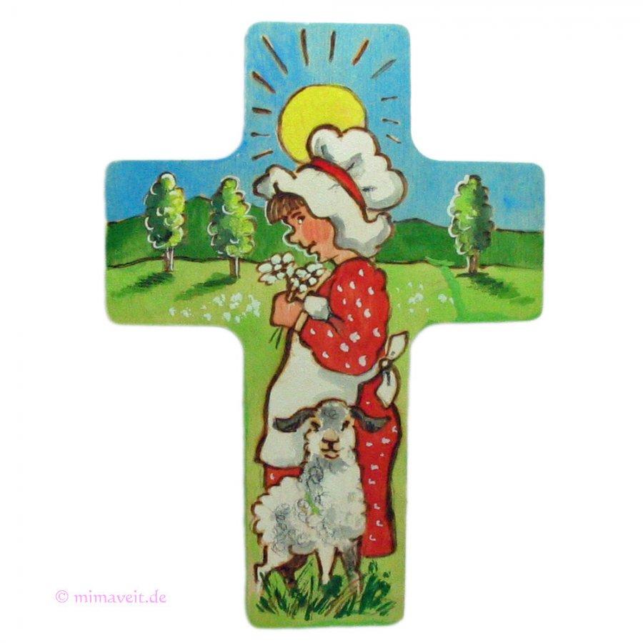 Kinderkreuz Mädchen mit Schaf auf Weide