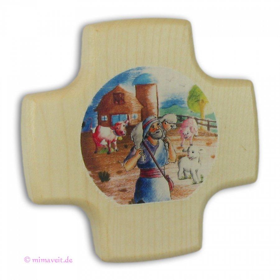 Kreuz zur Kommunion - Guter Hirte - aus Holz