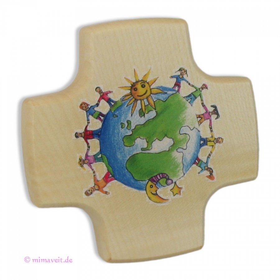 Kreuz zur Kommunion - Kinder unserer Welt - aus Holz