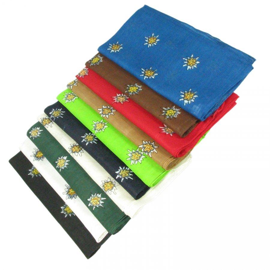 Halstuch Trachtentuch mit Edelweiß aus Baumwolle