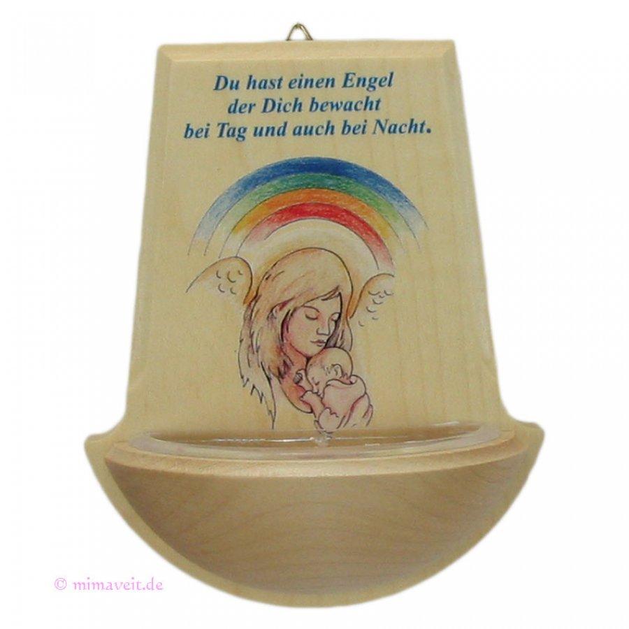 Weihwasserkessel aus Holz - Du hast einen Engel