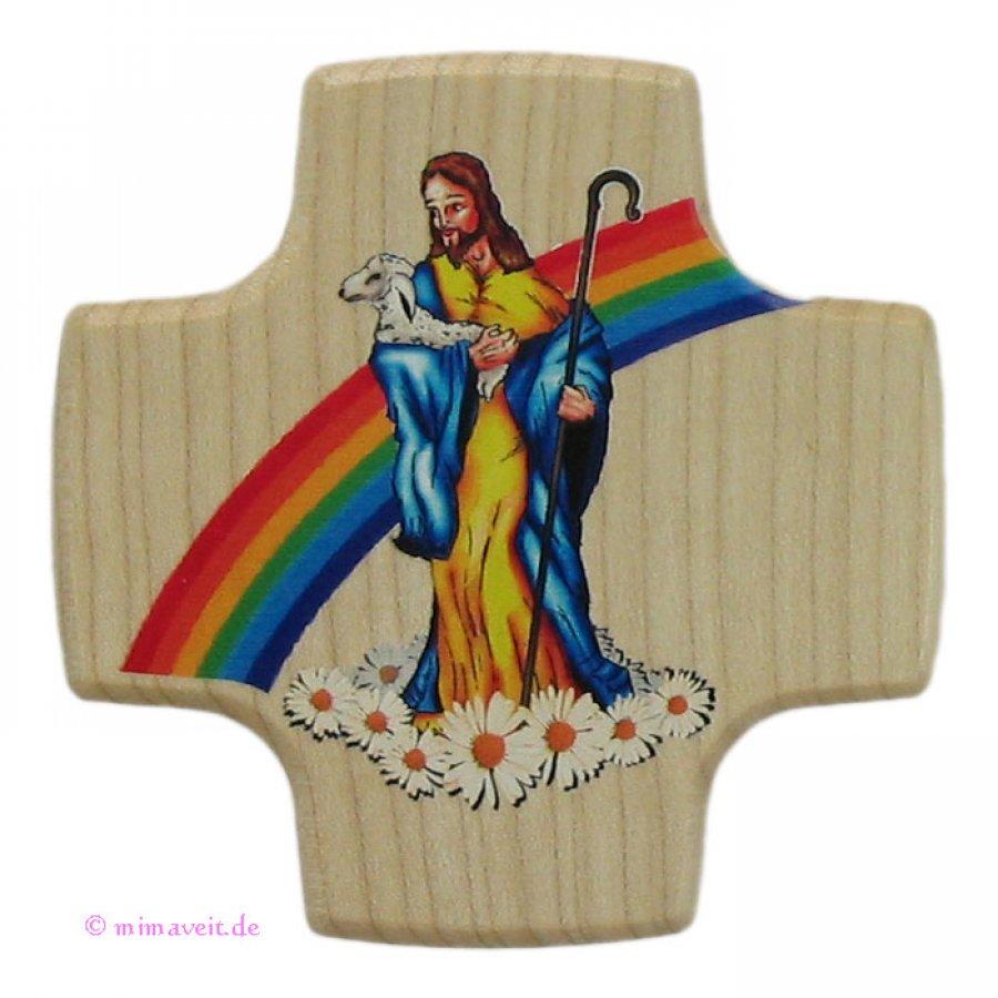 Kreuz zur Kommunion - Guter Hirte Jesus - aus Holz