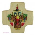 Kreuz zur Kommunion - Alpha und Omega - aus Holz