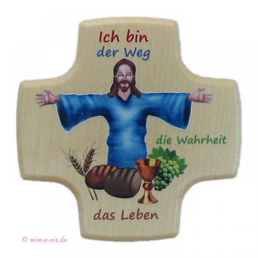 Kreuz zur Kommunion aus Holz Ich bin der Weg, die Wahrheit und das Leben