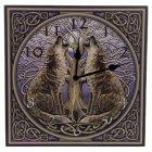 Wanduhr Wölfe mit dem Baum des Lebens