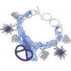 Trachtenarmband blau-weiß Karo mit verschiedenen Anhängern