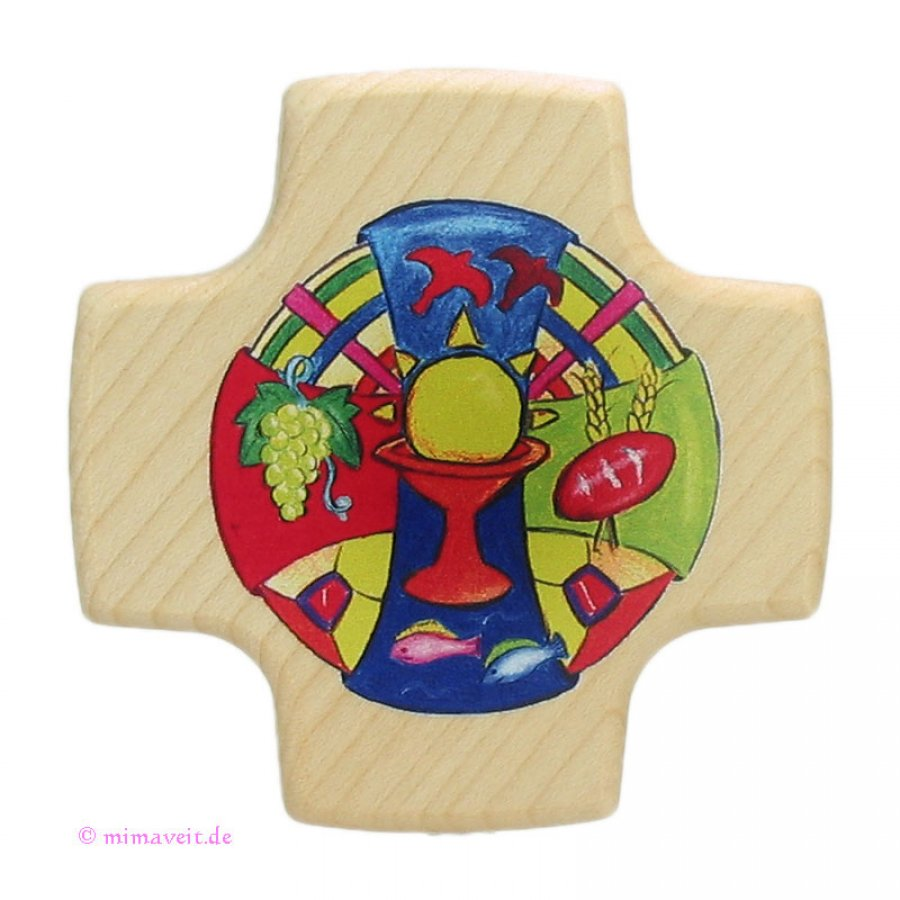 Kreuz zur Kommunion - Gottes Gaben - aus Holz