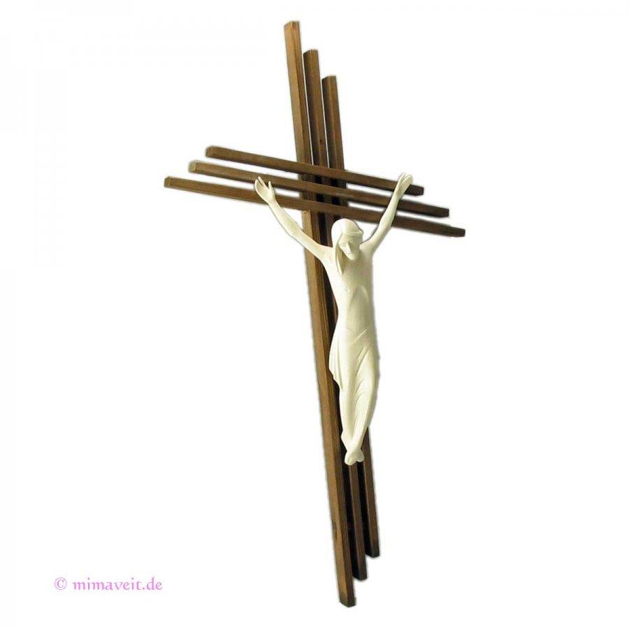 Großes modernes Holzkreuz mit Korpus handgearbeitet 49 cm