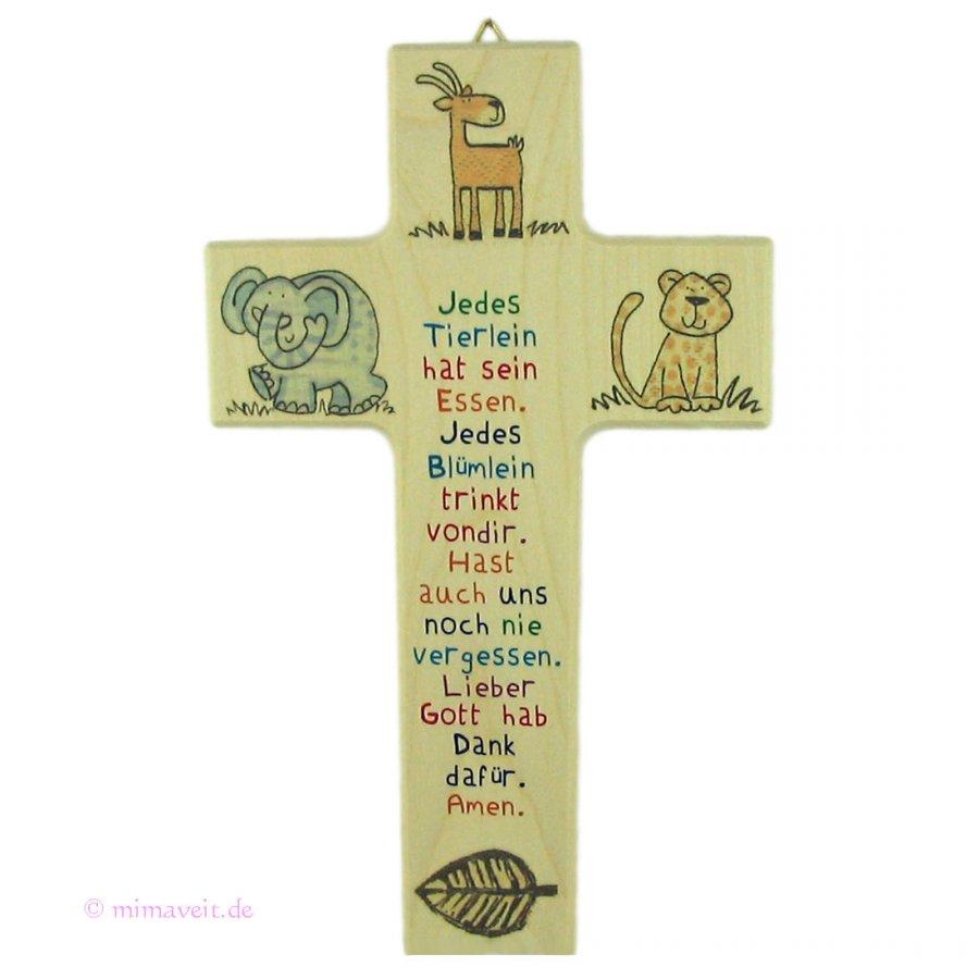 Kreuz aus Ahorn Jedes Tierlein hat sein Essen