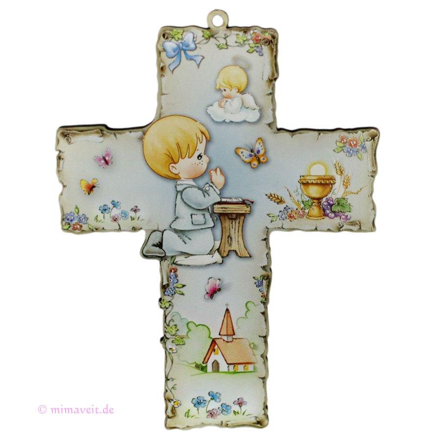Taufkreuz Kommunionkreuz mit betendem Jungen