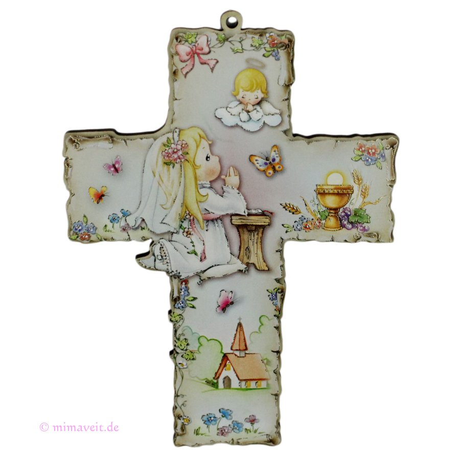 Taufkreuz Kommunionkreuz mit betendem Mädchen