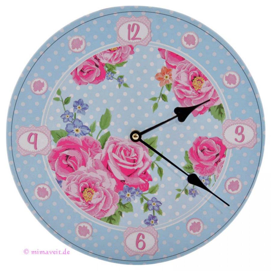 Wanduhr Chintzmuster mit rosa Rosenblüten