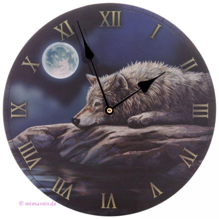 Wanduhr Ruhige Nacht des Wolfes