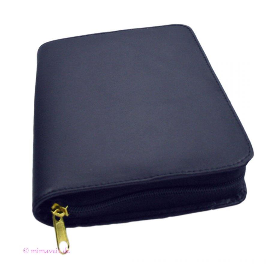 Gotteslobhülle Leder blau mit Reißverschluss für das neue Gotteslob