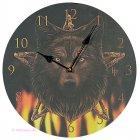 Wanduhr Wild Fire wildes Feuer mit Wolf und Pentagramm