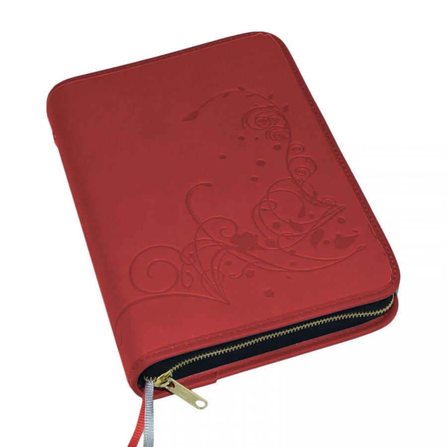 Großdruck Gotteslobhülle Kunstleder rot mit filigranem Floralmuster für das neue Gotteslob