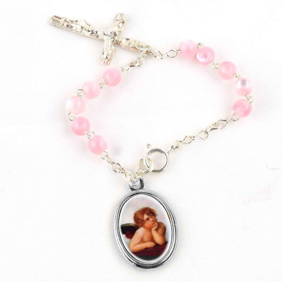 Rosenkranz Armkettchen rosa für Mädchen zur Taufe