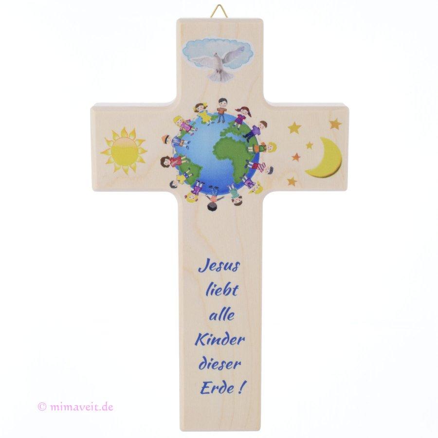 Kreuz für Kinder Jesus liebt alle Kinder der Erde