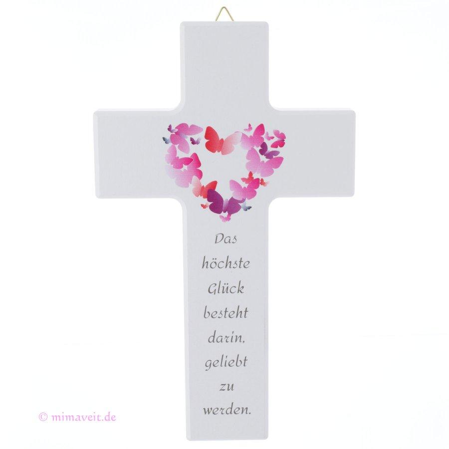 Kreuz zur Hochzeit Trauung weiß mit rosa Herz