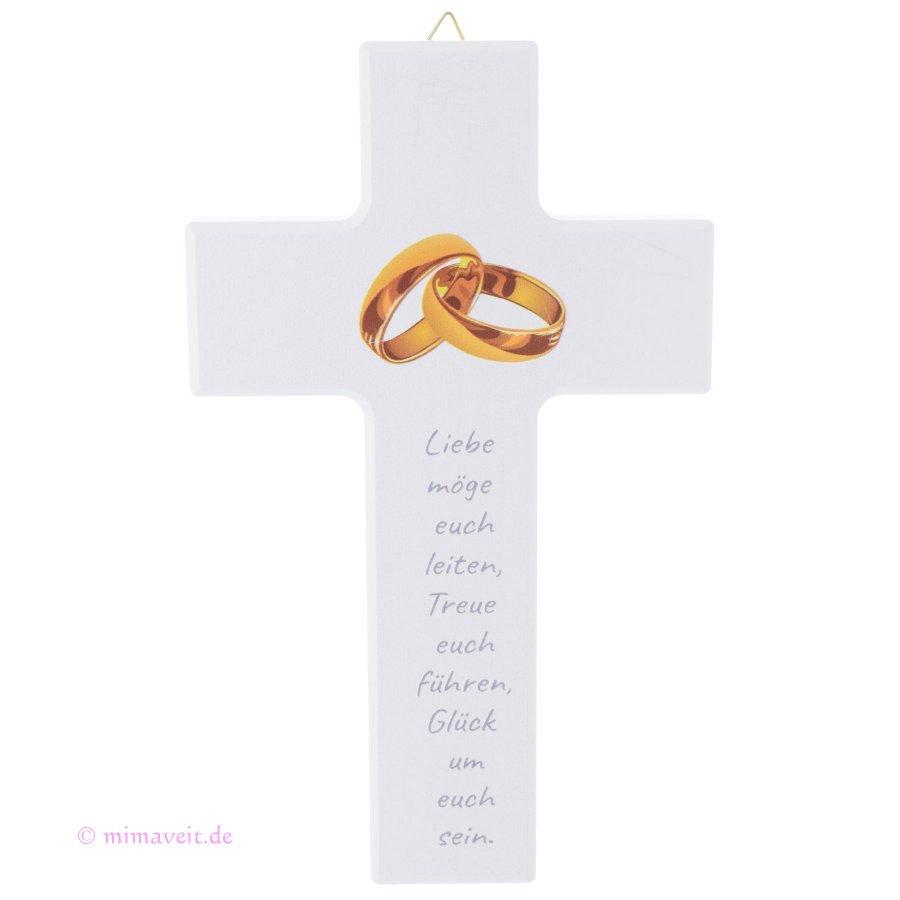 Kreuz Zur Hochzeit Trauung Weiss Mit Goldenen Ringen Mimaveit