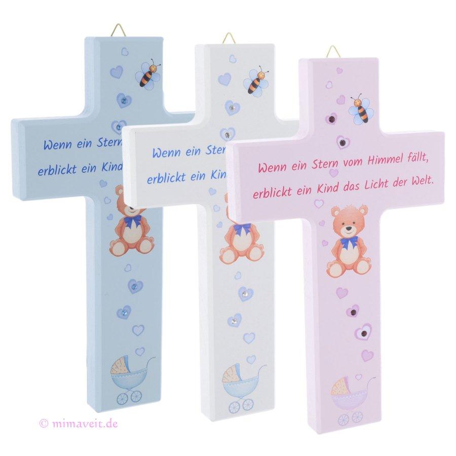 Kreuz aus Ahorn Holz zur Geburt, Taufe für Mädchen, Jungen