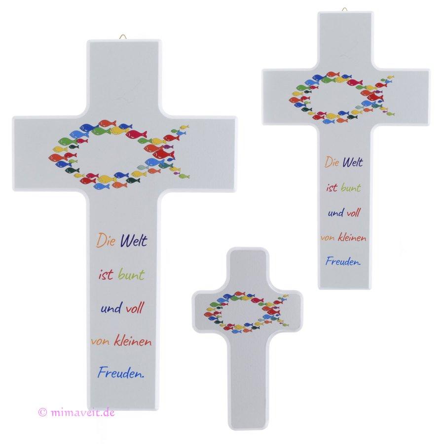 Kreuz zur Kommunion Fische Die Welt ist bunt