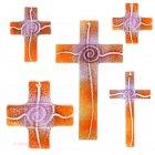 Glaskreuz Kreuz aus Glas Wandkreuz Spirale goldviolett orange