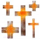 Glaskreuz Kreuz aus Glas Wandkreuz Spirale orange rehbraun