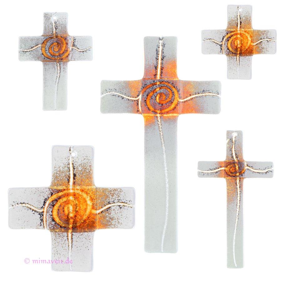 Glaskreuz Kreuz aus Glas Wandkreuz Spirale orange weißopal