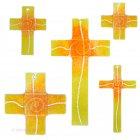 Glaskreuz Kreuz aus Glas Wandkreuz Spirale orange gelbopal