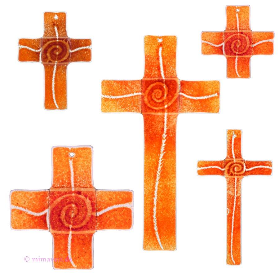 Glaskreuz Kreuz aus Glas Wandkreuz Spirale bordeaux orange