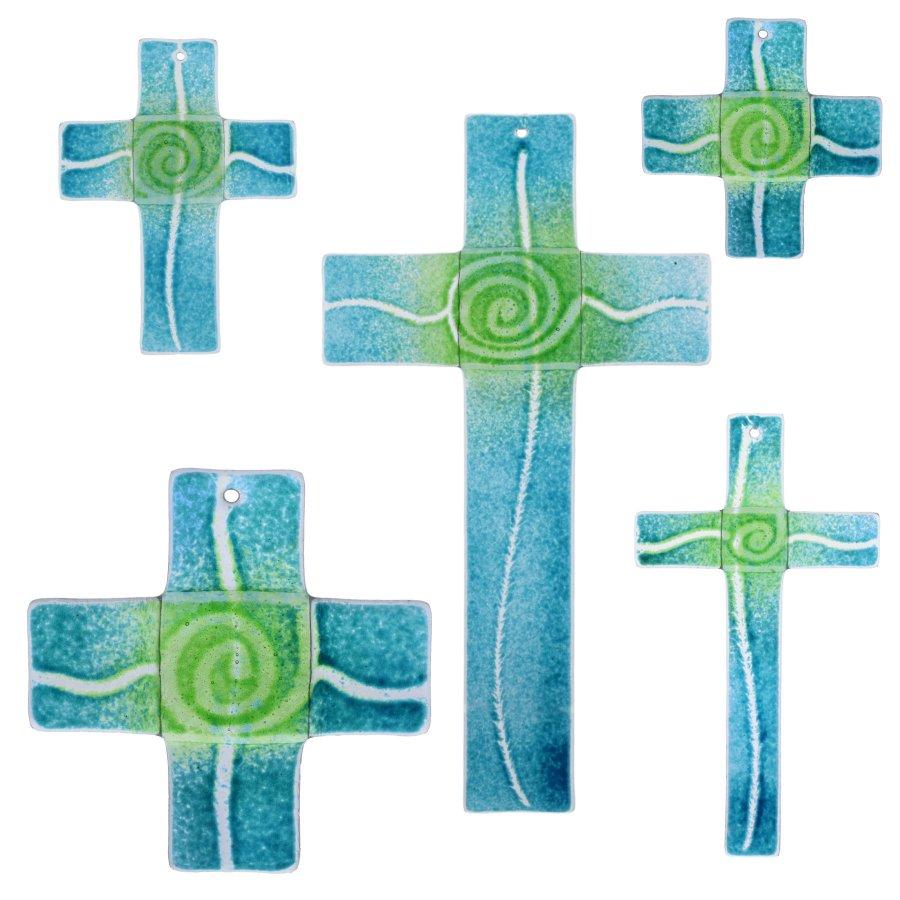 Glaskreuz Kreuz aus Glas Wandkreuz Spirale aquamarin chromgrün