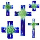 Glaskreuz Kreuz aus Glas Wandkreuz Spirale chromgrün dunkelblauopal