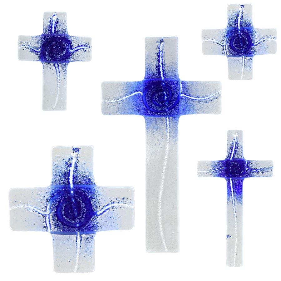Glaskreuz Kreuz aus Glas Wandkreuz Spirale weißopal dunkelblauopal