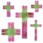 Glaskreuz Kreuz aus Glas Wandkreuz Spirale chromgrün goldrubin