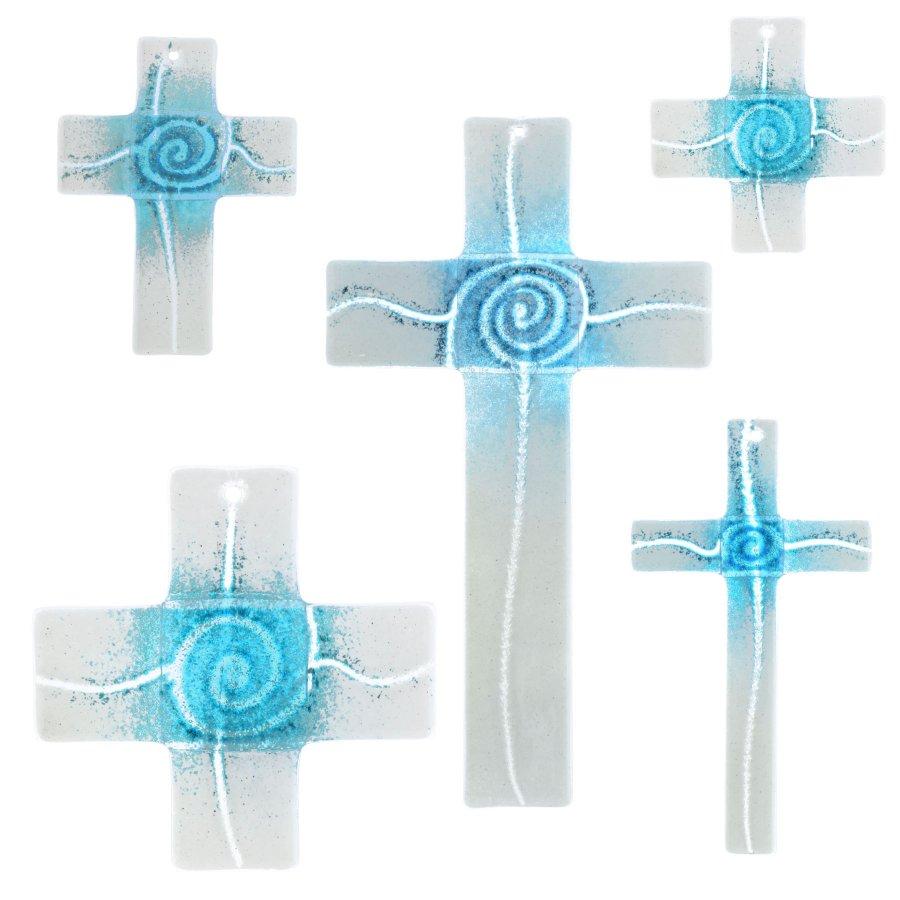 Glaskreuz Kreuz aus Glas Wandkreuz Spirale aquamarin weißopal