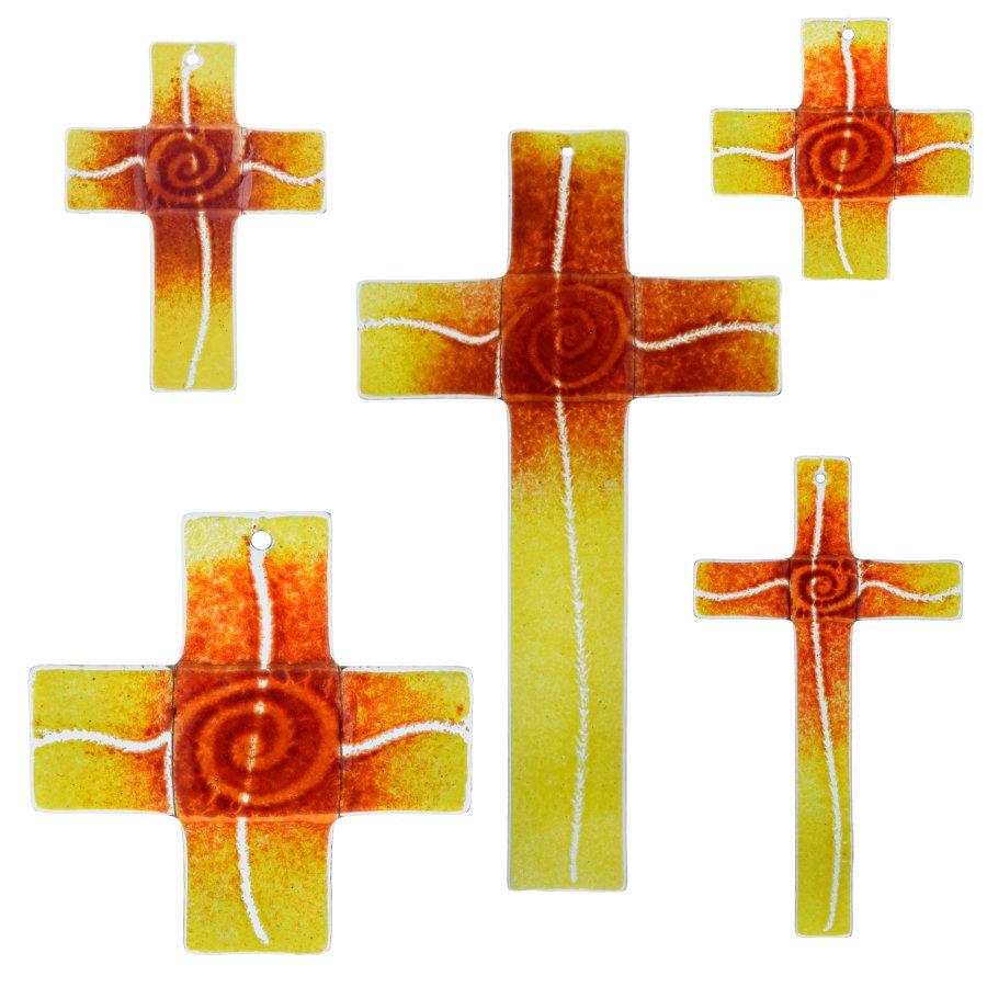 Glaskreuz Kreuz aus Glas Wandkreuz Spirale bordeaux gelbopal