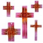 Glaskreuz Kreuz aus Glas Wandkreuz Spirale bordeaux goldrubin