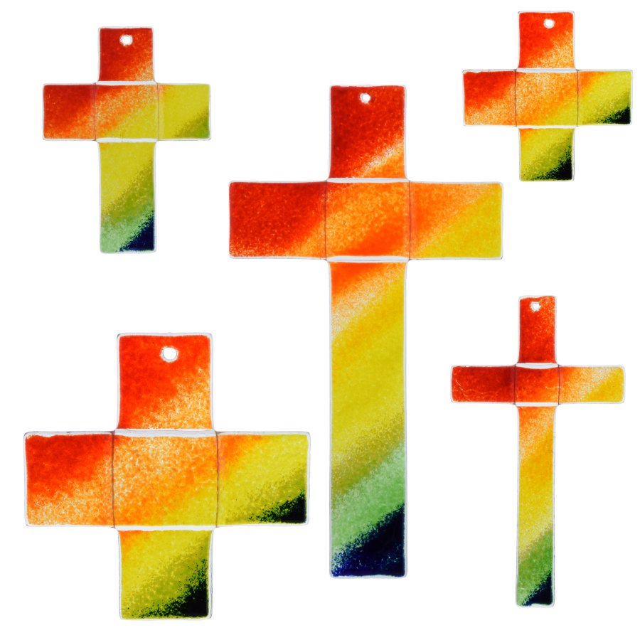 Glaskreuz Kreuz aus Glas Wandkreuz Regenbogen bunt
